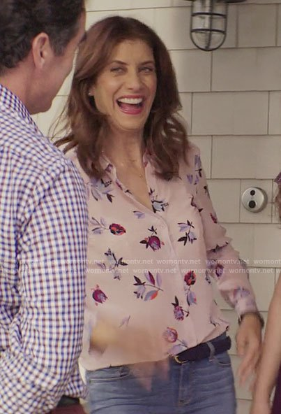 Olivia's pink floral blouse on 13 Reasons Why