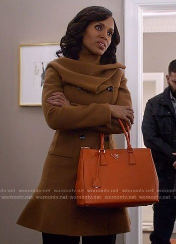 Olivia's tan coat with gathered neck on Scandal