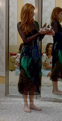 Paige's green feather dress on Famous in Love