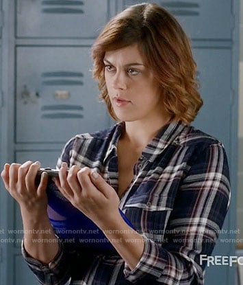 Paige's navy plaid shirt on Pretty Little Liars