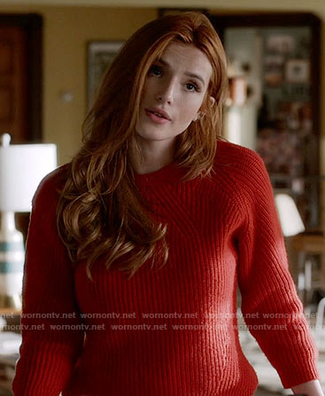 Paige's red ribbed sweater on Famous in Love
