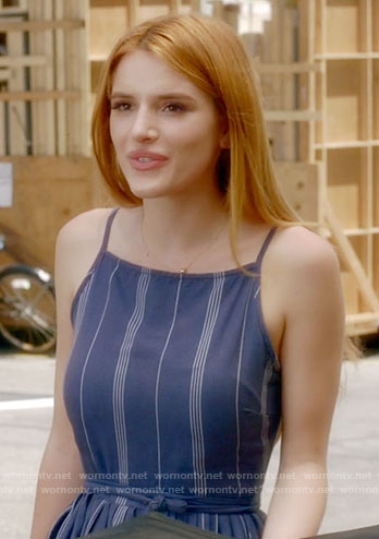 Paige's blue striped dress on Famous in Love