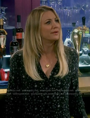 Penny's black printed dress on The Big Bang Theory