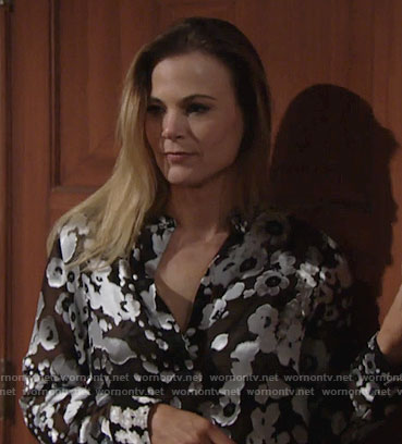 Phyllis's black and white floral blouse on The Young and the Restless