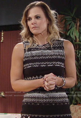 Phyllis's black patterned stripe dress on The Young and the Restless