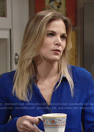 Phyllis's blue blouse with printed placket on The Young and the Restless