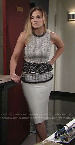 Phyllis's mixed print peplum top and white bandage skirt on The Young and the Restless