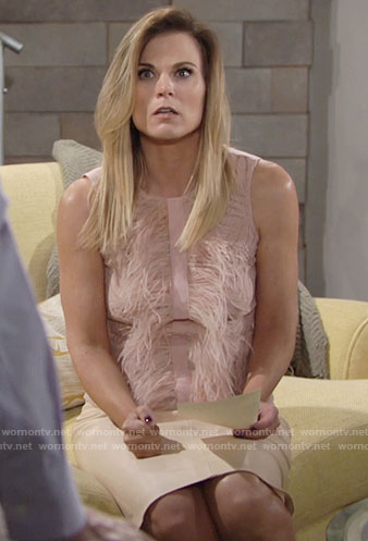 Phyllis's pink feather top on The Young and the Restless
