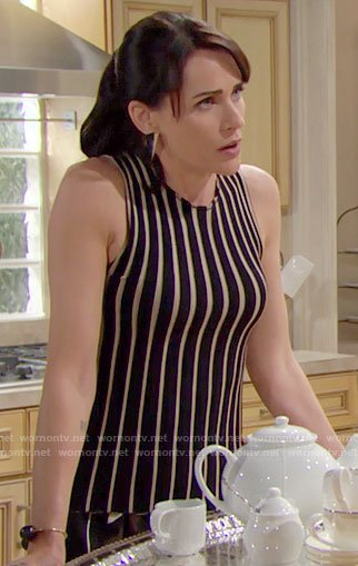 Quinn's black vertical striped top on The Bold and the Beautiful