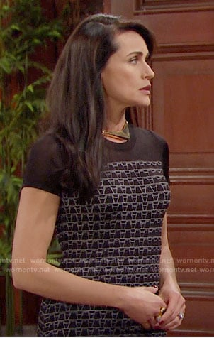 Quinn's black printed dress and gold square choker on The Bold and the Beautiful