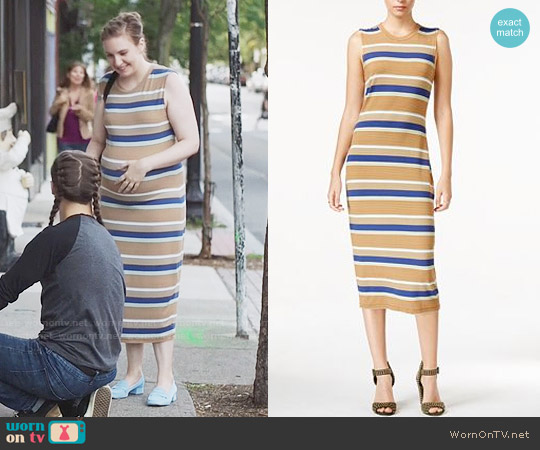 RACHEL Rachel Roy Striped Midi Dress worn by Hannah Horvath (Lena Dunham) on Girls