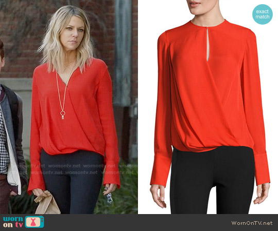 Rag & Bone Max Blouse in Fiery Red worn by Kaitlin Olson on The Mick