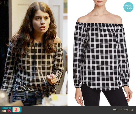 Rag & Bone Off-The-Shoulder Plaid Top worn by Sofia Black D'Elia on The Mick