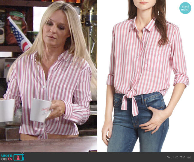 Rails Val Shirt in Garnet Stripe worn by Sharon Collins (Sharon Case) on The Young & the Restless