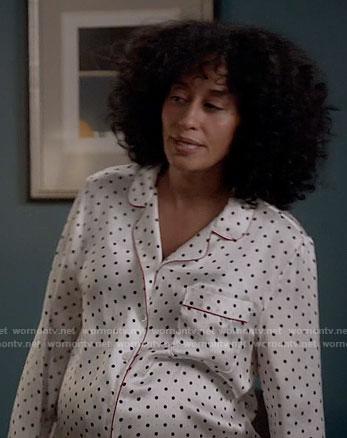 Rainbow's white polka dot pajamas on Black-ish