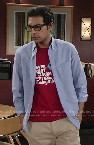 Ravi's red atom t-shirt on The Young and the Restless