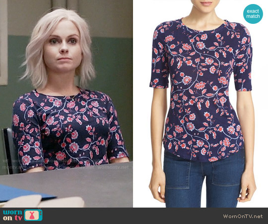 Rebecca Taylor 'Kyoto Floral' Print Linen Knit Tee worn by Rose McIver on iZombie
