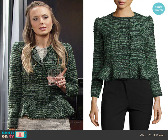 Rebecca Taylor Textured Tweed Peplum Jacket worn by Melissa Ordway on The Young & the Restless