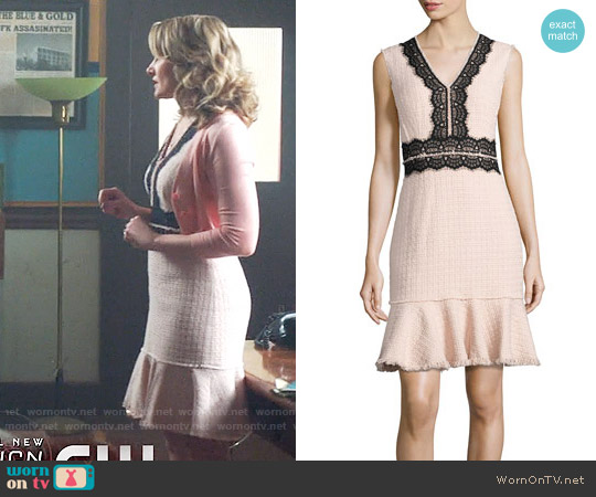 Rebecca Taylor Tweed Contrast-Lace Sleeveless Dress worn by Mädchen Amick on Riverdale