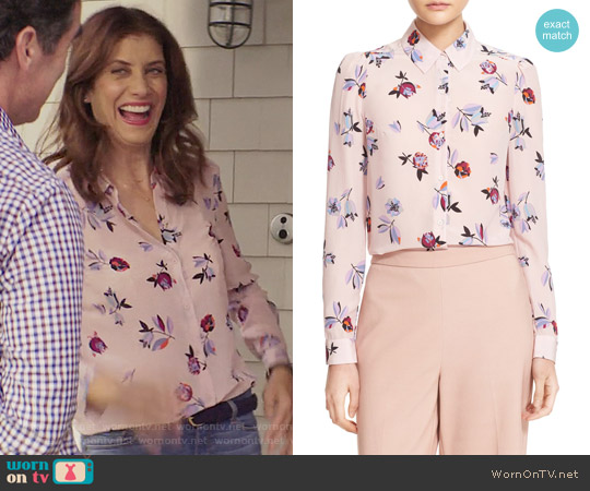 Rebecca Taylor Bellflower Blouse worn by Olivia Baker (Kate Walsh) on 13 Reasons Why