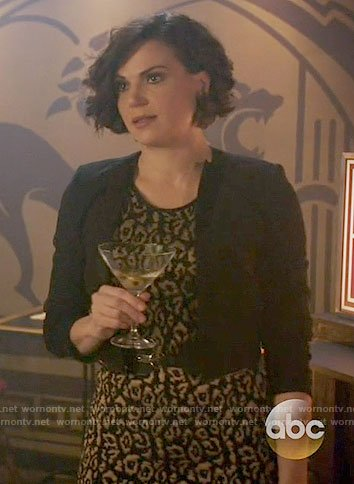 Regina's black leopard print dress on Once Upon a Time