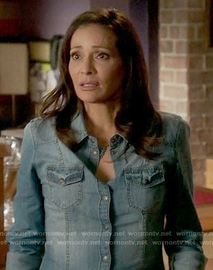 Regina's denim shirt on Switched at Birth
