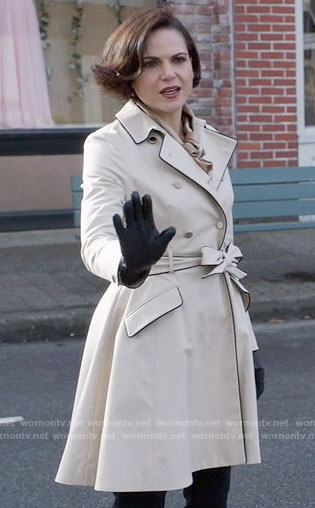 Regina's trench coat with black trim on Once Upon a Time