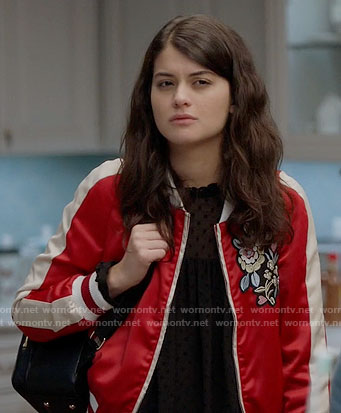 Sabrina's red embroidered bomber jacket on The Mick
