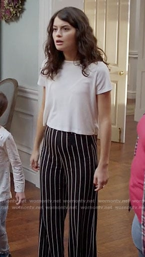 Sabrina's striped wide leg pants on The Mick
