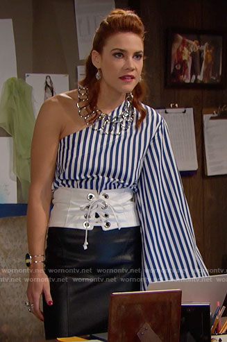 Sally's striped one-sleeve top and white corset belt on The Bold and the Beautiful