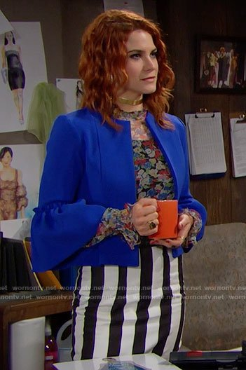Sally's floral blouse, blue jacket and striped skirt on The Bold and the Beautiful