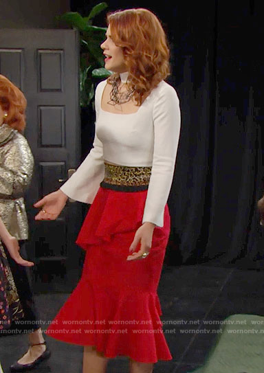 Sally's white choker top and red ruffled skirt on The Bold and the Beautiful
