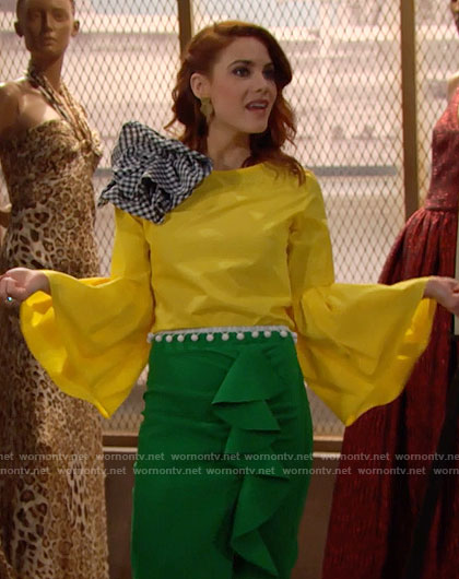 Sally's yellow bell-sleeve top and green ruffled skirt on The Bold and the Beautiful