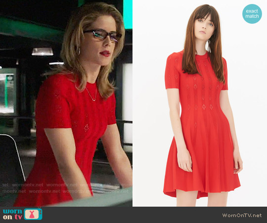 Sandro Chloe Dress worn by Felicity Smoak (Emily Bett Rickards) on Arrow