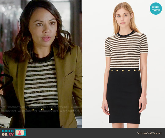 Sandro Redlake Dress worn by Janel Parrish on PLL