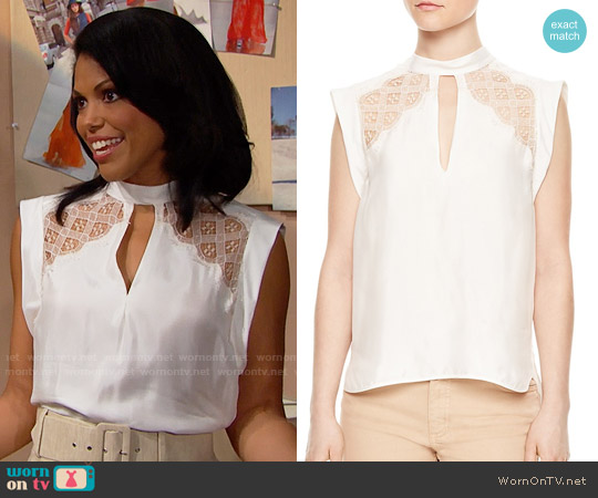 Sandro Vally Top worn by Karla Mosley on The Bold & the Beautiful