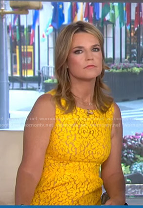 Savannah's yellow lace sleeveless dress on Today