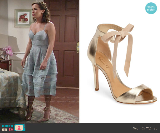 Schutz Rene Sandal worn by Chelsea Lawson on The Young & the Restless