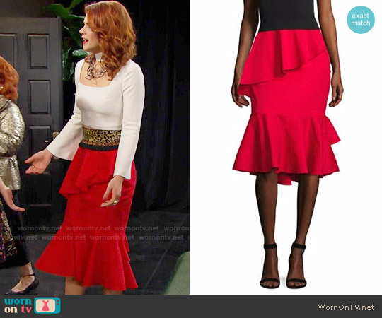 Scripted Tiered Ruffle Midi Skirt worn by Sally Spectra on The Bold & the Beautiful