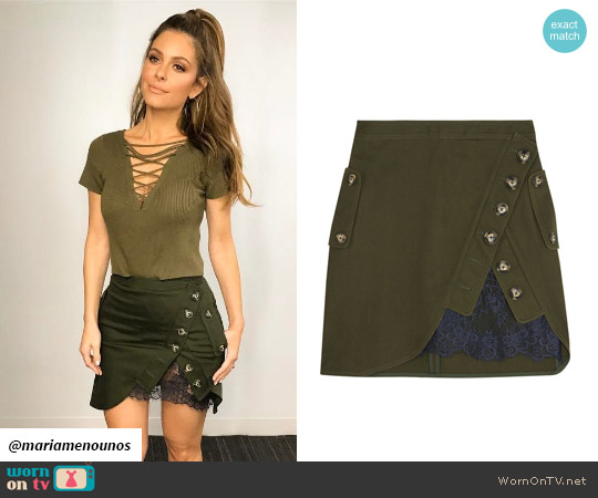 Self Portrait Lace-paneled cotton-twill mini skirt worn by Maria Menounos on E! News
