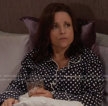 Selina's navy polka dot pajamas on Veep
