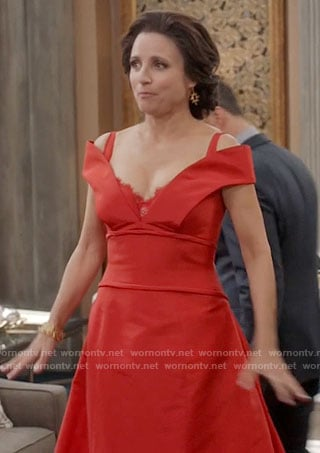 Selina's red off-shoulder gown on Veep