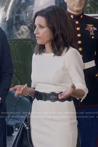 Selina's white three-quarter sleeve dress on Veep