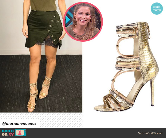 Sergio Rossi Gold Formal Shoes worn by Maria Menounos on E! News