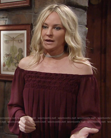 Sharon's burgundy off-shoulder blouse on The Young and the Restless