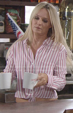 Sharon's pink candy stripe shirt on The Young and the Restless