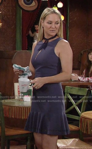 Sharon's purple drop-waist dress on The Young and the Restless