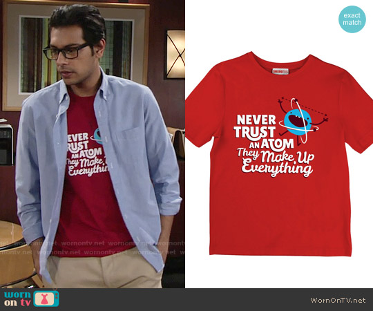 Snorg Tees Never Trust An Atom, They Make Up Everything worn by Abhi Sinha on The Young & the Restless
