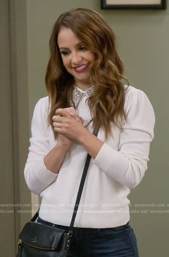 Sofia's white sweater with embellished collar on Young and Hungry