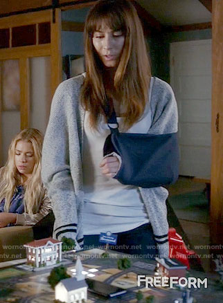 Spencer's grey cardigan with stripes on Pretty Little Liars